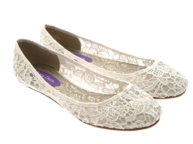 Lora Dora Womens Low Heel Ivory Lace Ballerina Ballet Pumps Flat Bridal  Bridesmaid Prom Shoes Ladies Size UK 5AmazonukShoes  Bags