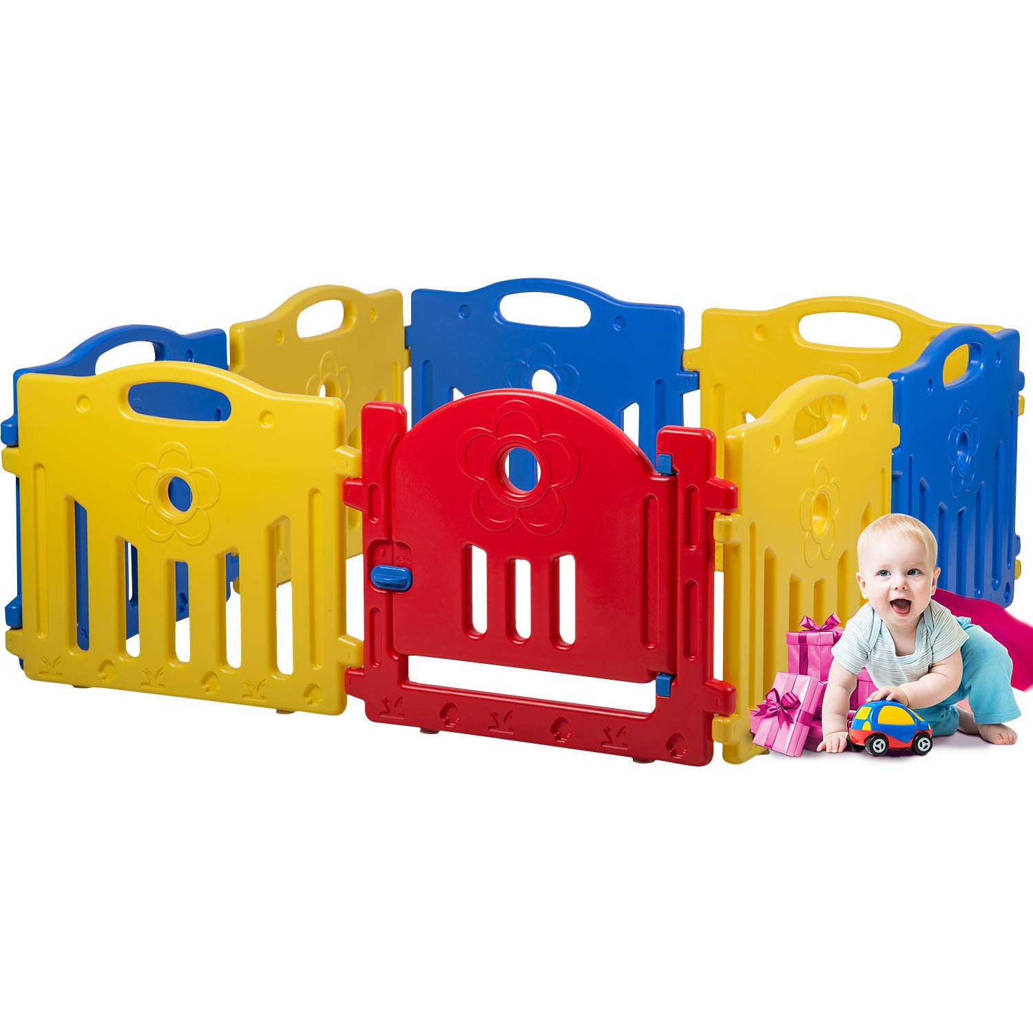 Adjustable Baby Playpen Kids 8 Panel Safety Play Center Yard