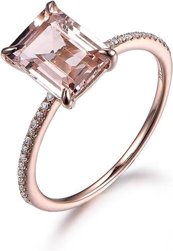 Real 14K Rose Gold 7x9mm Emerald Cut Morganite Wedding Anniversary Diamond Ring