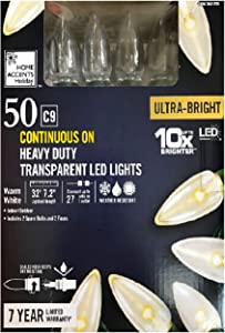 Home Accents 50 Warm White C9 Ultra-Bright Continuous On Heavy Duty Transparent LED Lights