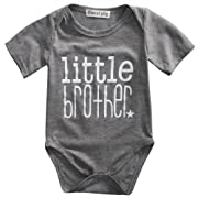 Gaono Toddler/Newborn Boys Shirt Big Brother T-Shirt & Little Brother Romper Outfits Set Clothes (70(0-3M), Little Brother Grey)