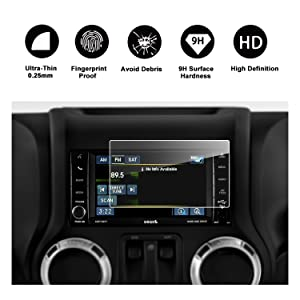 2014-2018 Jeep Wrangler 6.5-Inch Media Center Uconnect Car Navigation Screen Protector, RUIYA HD Clear TEMPERED GLASS Car In-Dash Screen Protective Film