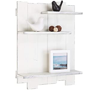 MyGift Wall-Mounted Whitewashed Wood Pallet-Style 3-Tier Display Shelf