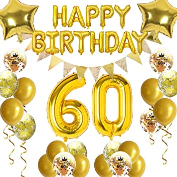 FACHY Decoración de 60 Cumpleaños Globos, Happy Birthday ...