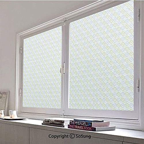 30×48 inch Window Privacy Film,60s 70s Home Decor Inspired Half Rounds Inner Shapes Image Decorative Non-Adhesive Static Cling Frosted Window Film,Window Stickers for Kids Home Office