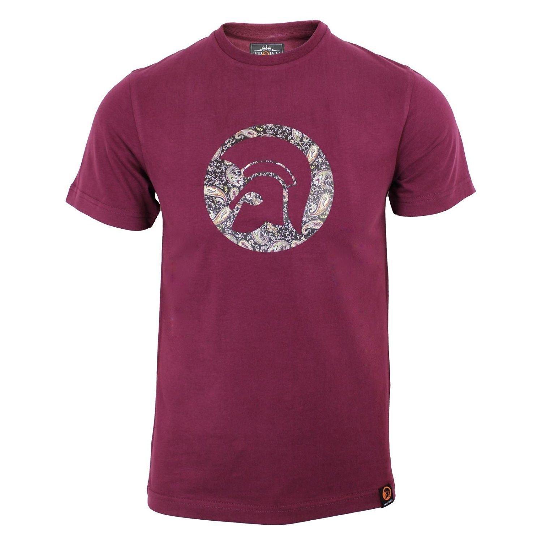 Trojan Records T Shirt para Hombre Maroon Paisley Casco Logo ...