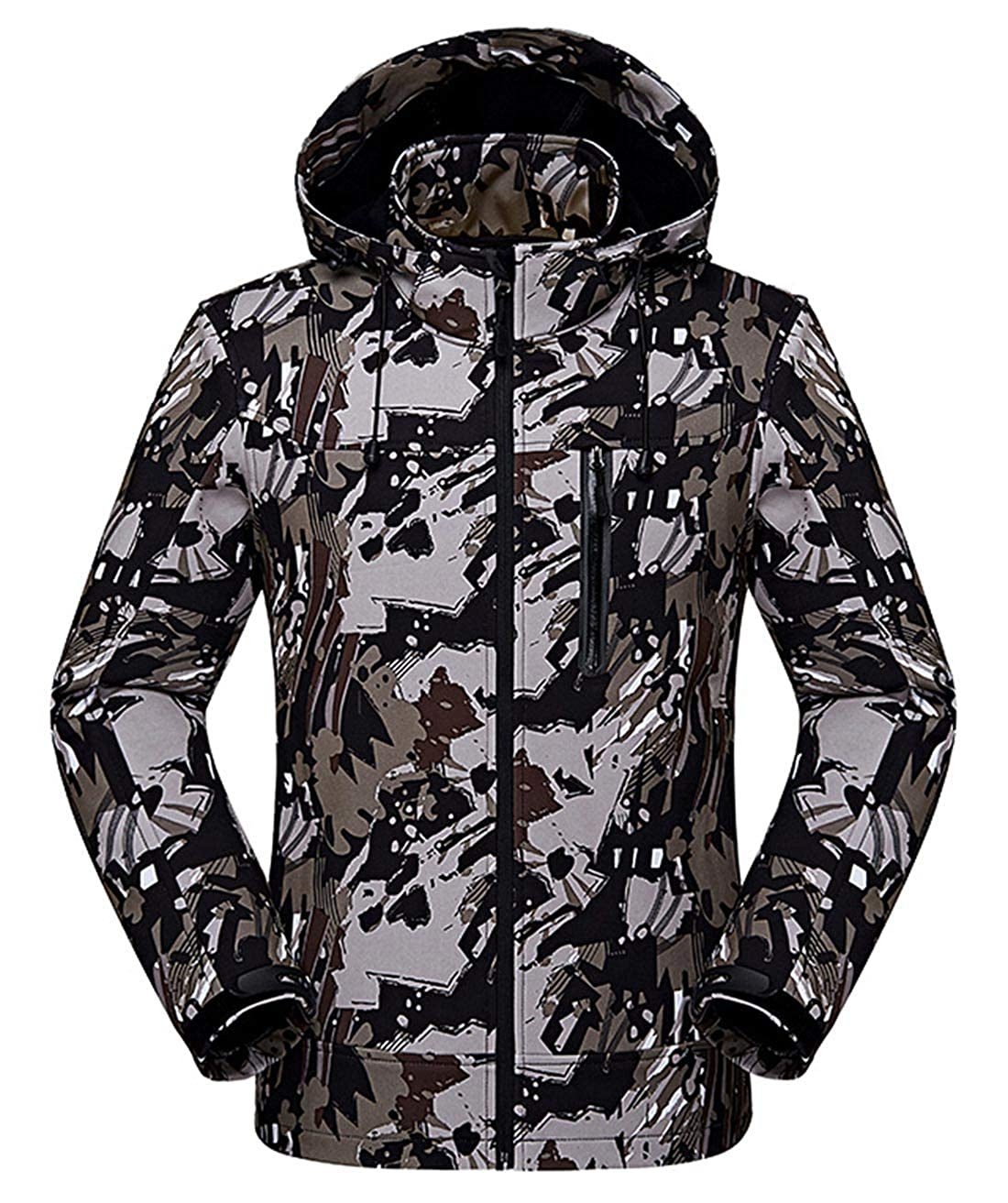 AIEOE Men's Hooded Windbreaker Windproof Waterproof Sportswear Camouflage Jacket