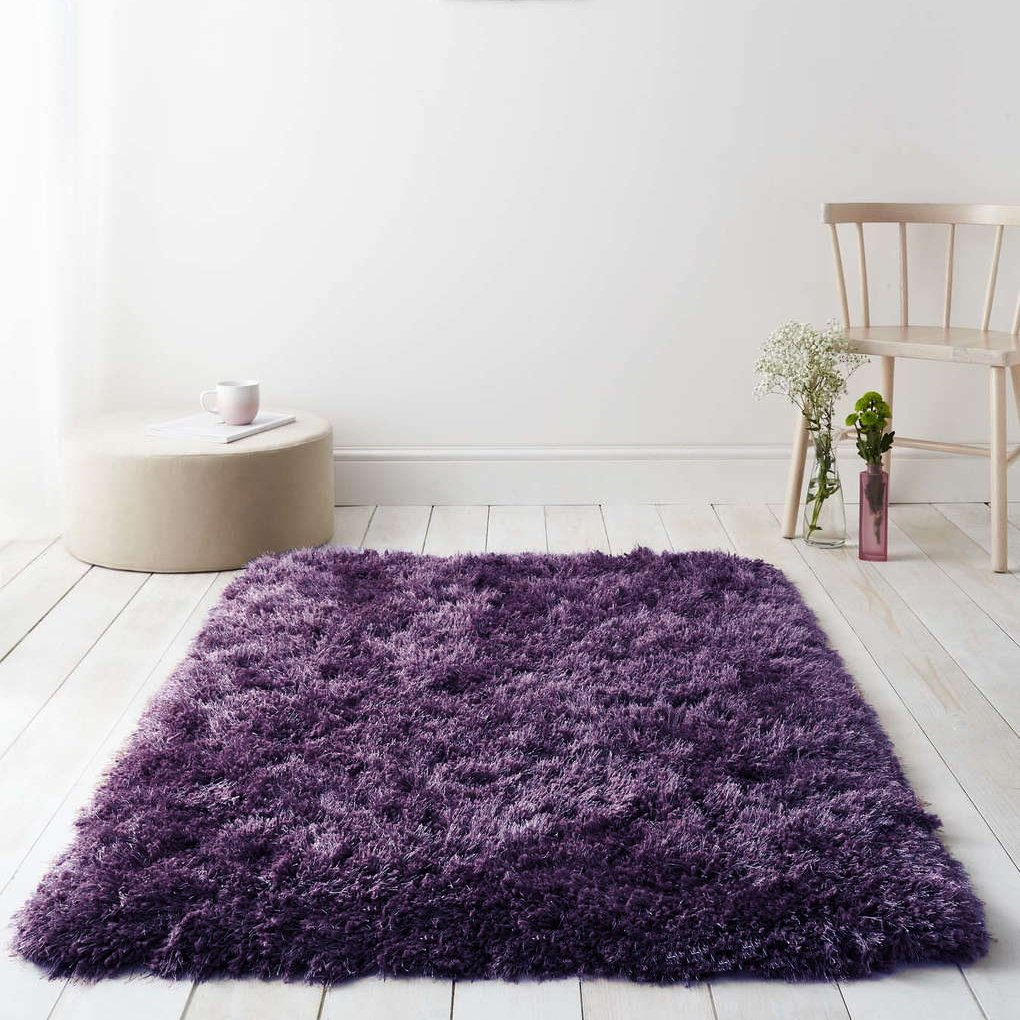 Diva Purple Plum Non Shed Soft Thick Fluffy Polyester Shaggy Living Room Rugs The Rug House Diva Rug 060x120cm Purple_AS