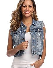 MISS MOLY Women's Denim Distressed Classic Vest Cotton Blue S