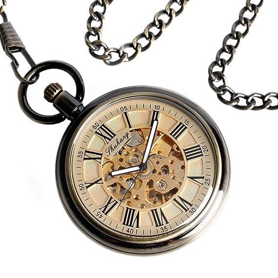YISUYA: Reloj de bolsillo con cadena para hombre, esqueleto transparente, números romanos, mecanismo automático fob, de bolsillo estilo vintage y bolsa de ...