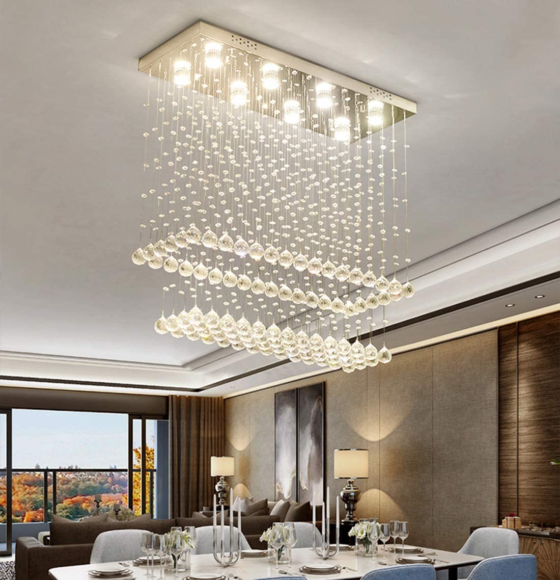 Moooni Modern Rectangular Crystal Chandelier Ceiling Lighting Fixture Raindrop Pendant Flush Mount Light Rectangle Chandeliers for Dining Rooms Kitchen L 47 x W 12 x H 31.5
