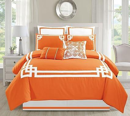 8 Piece Lucca Orange Comforter Set Queen