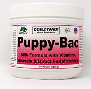 Dogzymes Puppy-Bac (8 Ounce) Milk Replacer with Live Microorganisms and Enzymes 441 Million CFU/Gram Mix 1:4
