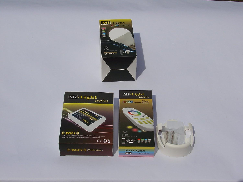 Mi-Light 2,4G 1x Fernbedienung 4 Zonen + 1x Halterung für FB + 1 x E27 LED RGB+WW Lampe 6 Watt original MILIGHT® , dimmbar, RGB Farbwechsel , System incl. Mi-Light Wlan Controller I Box 2 ansteuerbar   App IOS   Android