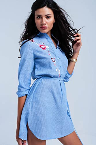 Q2 Donna Vestito-camicia a strisce blu – M – blu