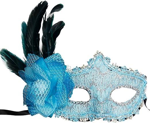 Bola de mascarada disfraz de Prom Party máscara con plumas de pavo ...