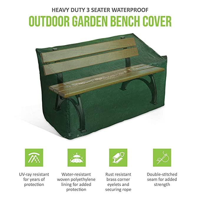 Terrific Ram Heavy Duty 3 Seater Waterproof Outdoor Garden Bench Cover With Corner Eyelets And Securing Ropes Suitable For Benches Up To 160Cm Bench Cover Lamtechconsult Wood Chair Design Ideas Lamtechconsultcom