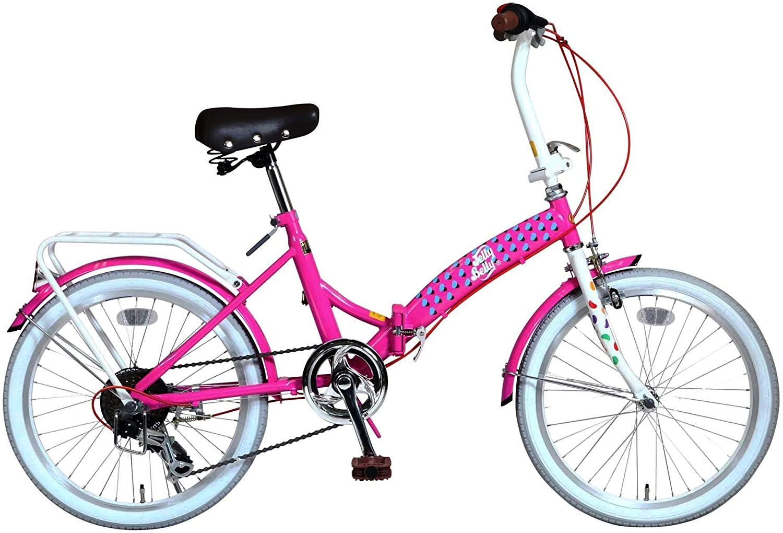 Jelly Belly(ジェリーベリー) 折りたたみ自転車 20インチ 6段変速付 TJB-206FD ピンク/ホワイト 20型