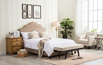 Taupe Upholstered Nailhead Bed Frame Bed,Platform With Adjustable Three  Height Adjustment Headboard