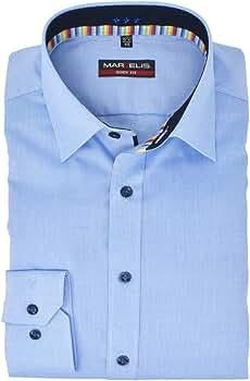 Marvelis Body Fit Camisa New Kent cuello con ribete, fácil de planchar, Vichykaro azul claro algodón puro azul claro 40: Amazon.es: Ropa y accesorios