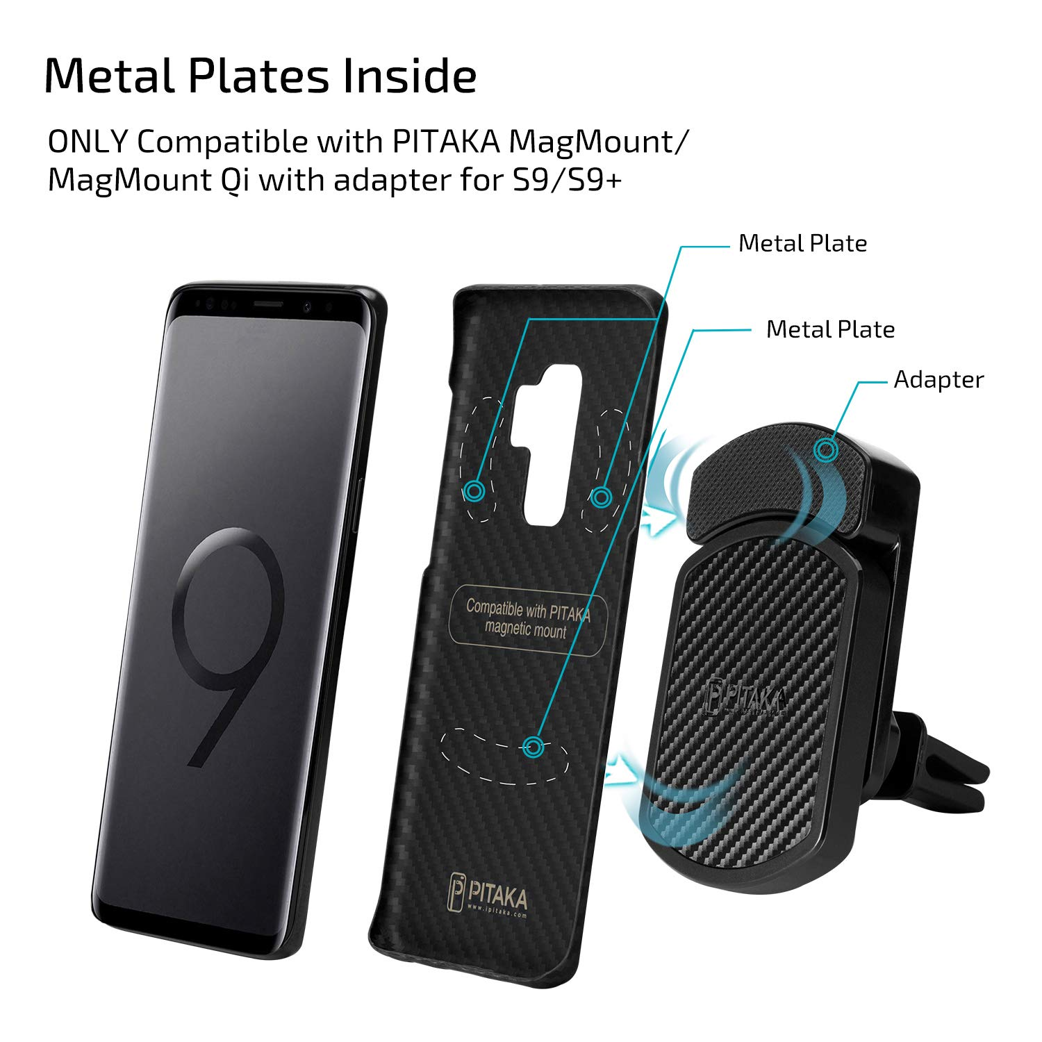 premium selection 02067 8d161 pitaka Minimalist Samsung S9 Plus Case, Magcase Super Slim fit Sturdy  Durable Case Protective Snap-on Scratch Resistant Back Cover for Samsung  Galaxy ...