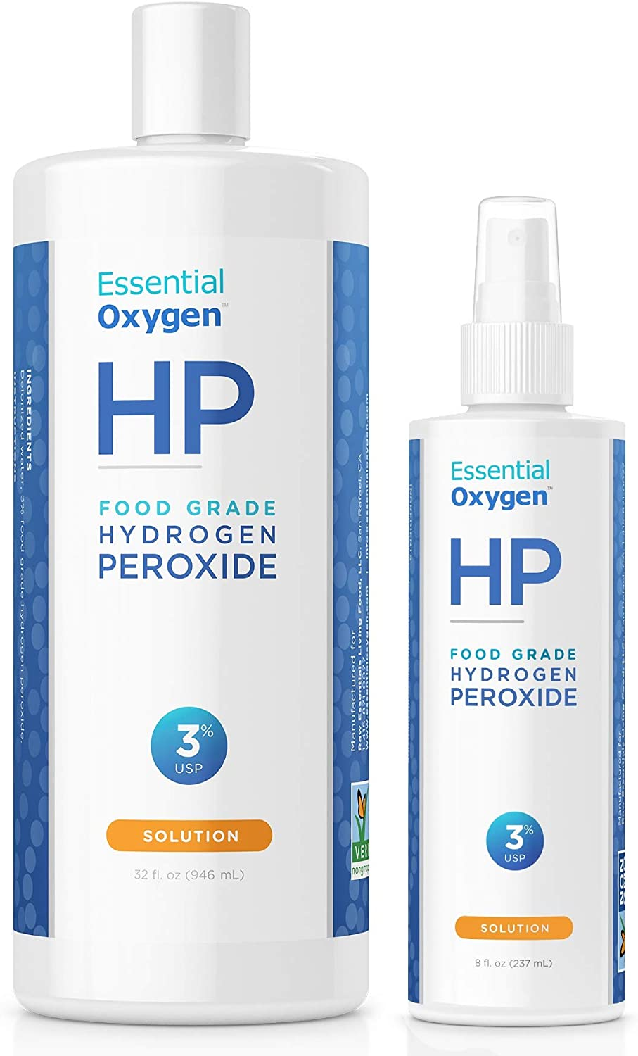 Essential Oxygen Food Grade Hydrogen Peroxide 3%, Natural Cleaner, 8 Oz Spray With 32 Oz Refill