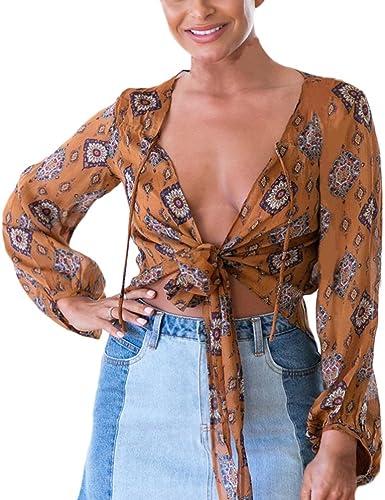 Battercake Blusas De Mujer Manga Larga V Cuello Elegante Vintage Boho Chic Etnico Casuales Mujeres Hippie Moda Hipster Casual Niña Gasa Camisas Camiseta Blusa Crop Tops: Amazon.es: Ropa y accesorios