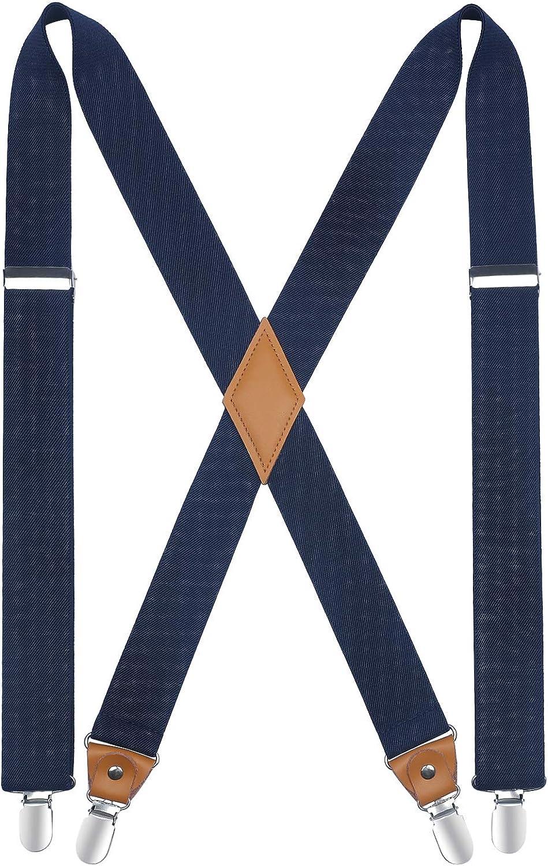 HISDERN Tirantes para hombres con 4 clips muy fuertes Tirantes resistentes Servicio X Suspender ajustable azul marino: Amazon.es: Ropa y accesorios