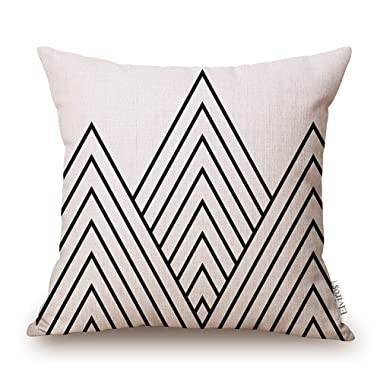 Elviros Cotton Linen Home Decorative Throw Pillow Case Cushion Cover for Sofa Couch, Black Geometric Lines, 18  x 18
