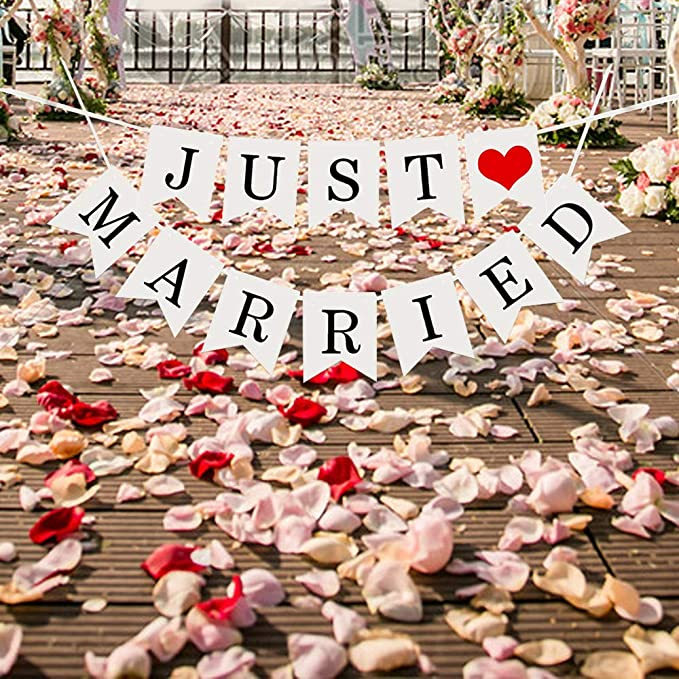 ecooe Frisch Verheiratet Banner Dekoration f/ür Hochzeit Brautdusche Just Married Girlande mit 19Stk Wimpeln und 3M Jute Seil*2