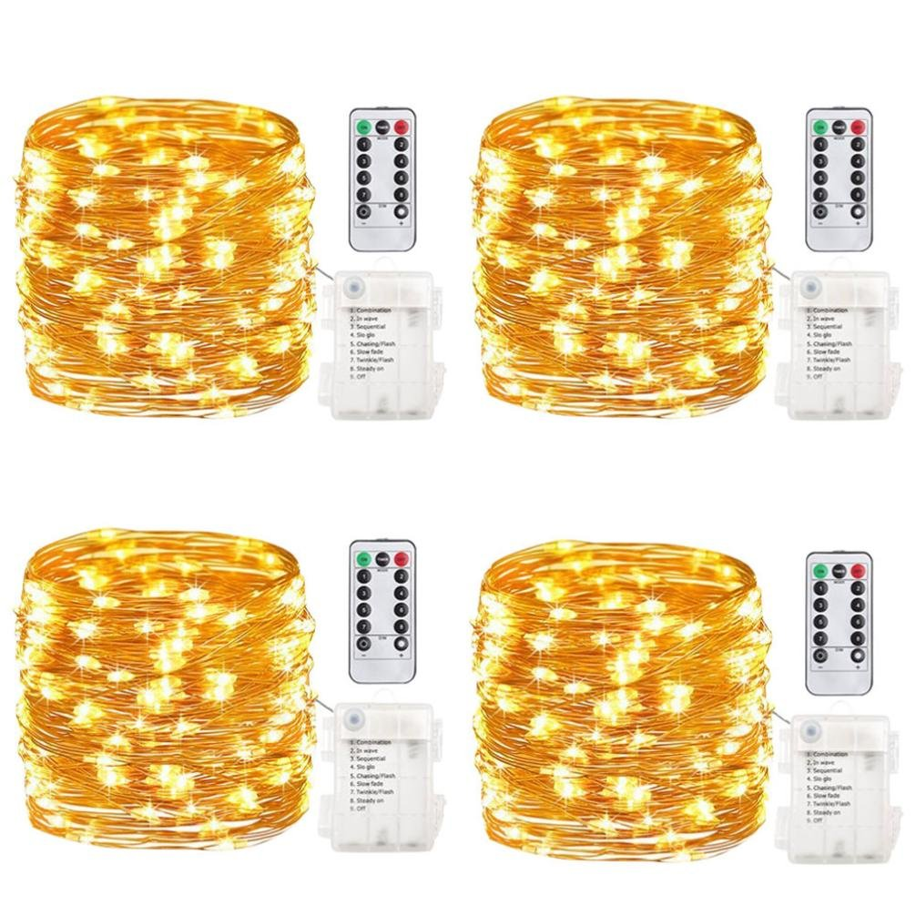 Nesix String Lights, 4Pcs Outdoor 5M 50 LEDs Waterproof Batteries Home Decoration Parties Weddings (Yellow)