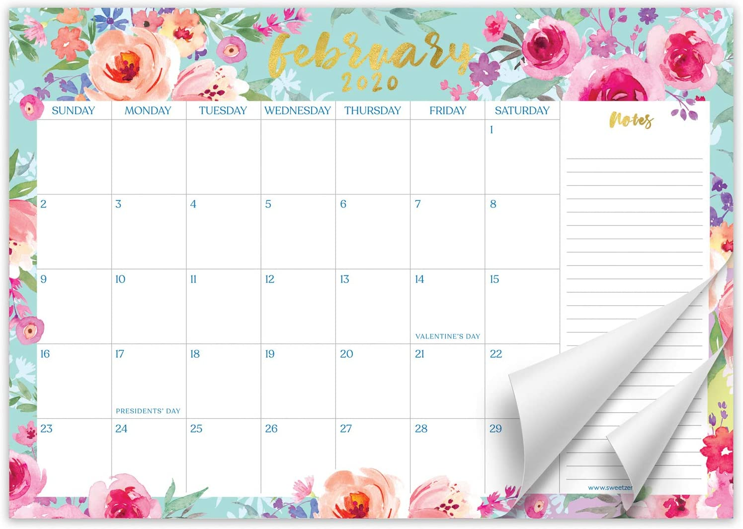 Sweetzer & Orange 2020 Calendar. 16 Month Desk Calendar 2020-April 2021 – Floral Design Monthly Planner, Daily Desk Pad Calendars for Home or Office Organization. 12 x 17 Desktop Calendar or Wall