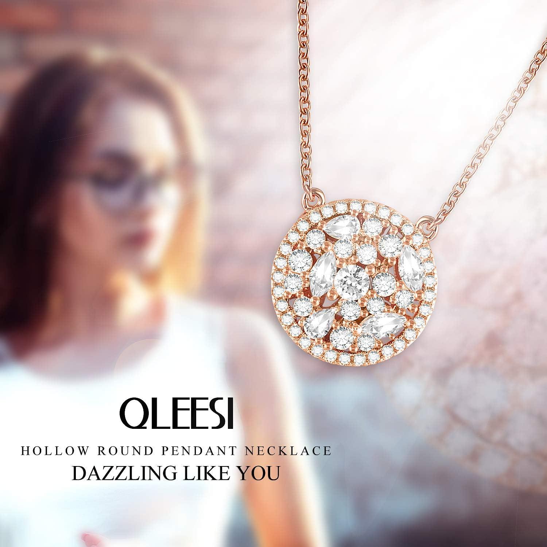 QLEESI Collier en Or Rose pour Femme Pendentif Rond Colliers Zircon Cadeaux danniversaire pour Petite Amie
