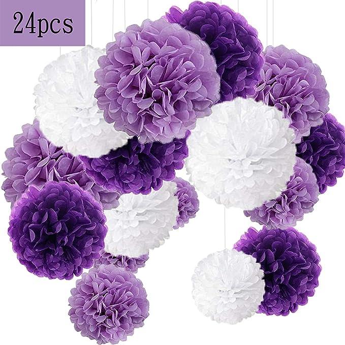 Imagen dePompon de papel de seda, bolas de papel en forma de flor para fiestas de cumpleanos, bodas, baby shower, shower de novia o decoracion de festivales, 24 unidades, Violeta, lavanda y blanco