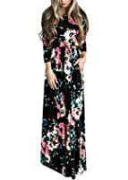 LiMiCao Women Autumn Fashion Printed Long Dress Three Quarter Sleeve Retro Vintage Flower Casual Floor Length Maxi Dress