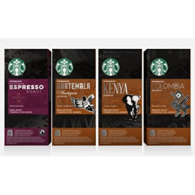 Starbucks Capsules for Nespresso OriginalLine: Colombia, Espresso, Guatemala, Kenya (40 count) Variety Assortment