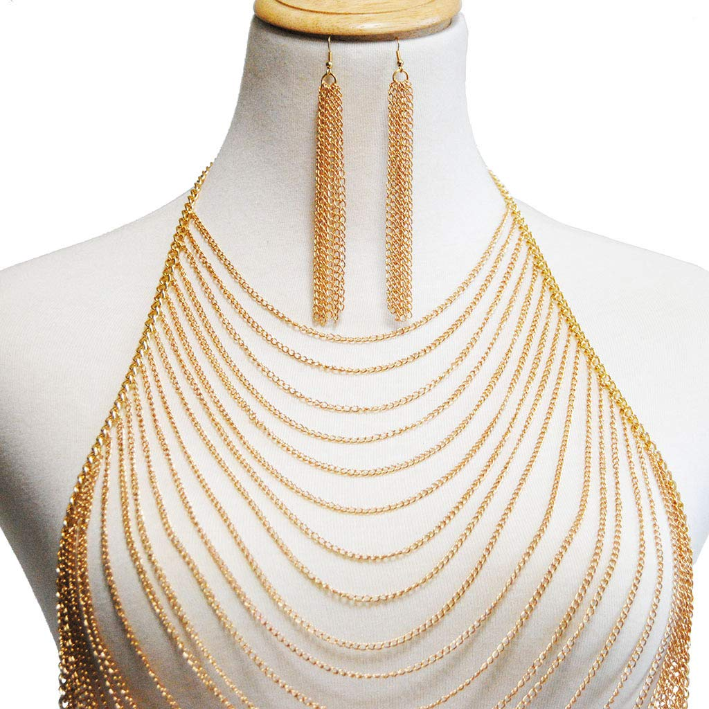 Woman Body Chain Necklace Open View Cup with Chain Pendant Temptation Pajama Multi-Layer Chain with Fringes for The Body Simple Single-Piece Chain Necklace Feminine,Gold by JIN YU MAN TANG