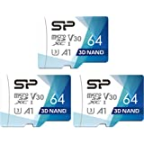 Silicon Power 64GB 3-Pack R/W up to 100/ 80MB/s Superior Pro Micro SDXC UHS-I (U3), V30 4K A1, High Speed MicroSD Card with Adapter