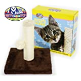 "Matty's Pet Stop 10"" Sisal Cat Scratching Post with Play Ball and Carpet Covered Base - Tan and Brown"