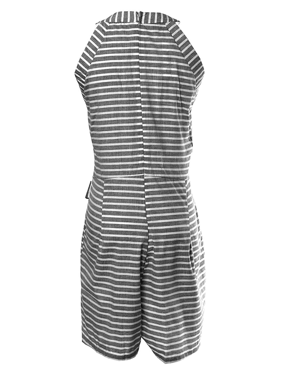 DUBACH Women Casual Striped Sleeveless Short Romper Jumpsuit L Gray by DUBACH (Image #5)