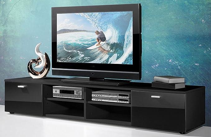 Mueble para televisor madera, color negro, con 4 estantes y 2 puertas, 160 x 30 x 40 cm,-PEGANE-: Amazon.es: Hogar