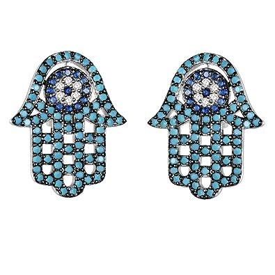 8d3c37410 Amazon.com: KIVN Fashion Jewelry Pave CZ Cubic Zirconia Hamsa Hand Evil Eye  Stud Earrings for Women (Turquoise): Jewelry