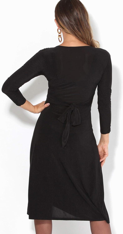 KRISP Basics Damen Midi Kleid mit Geknotetem Dekollet/é
