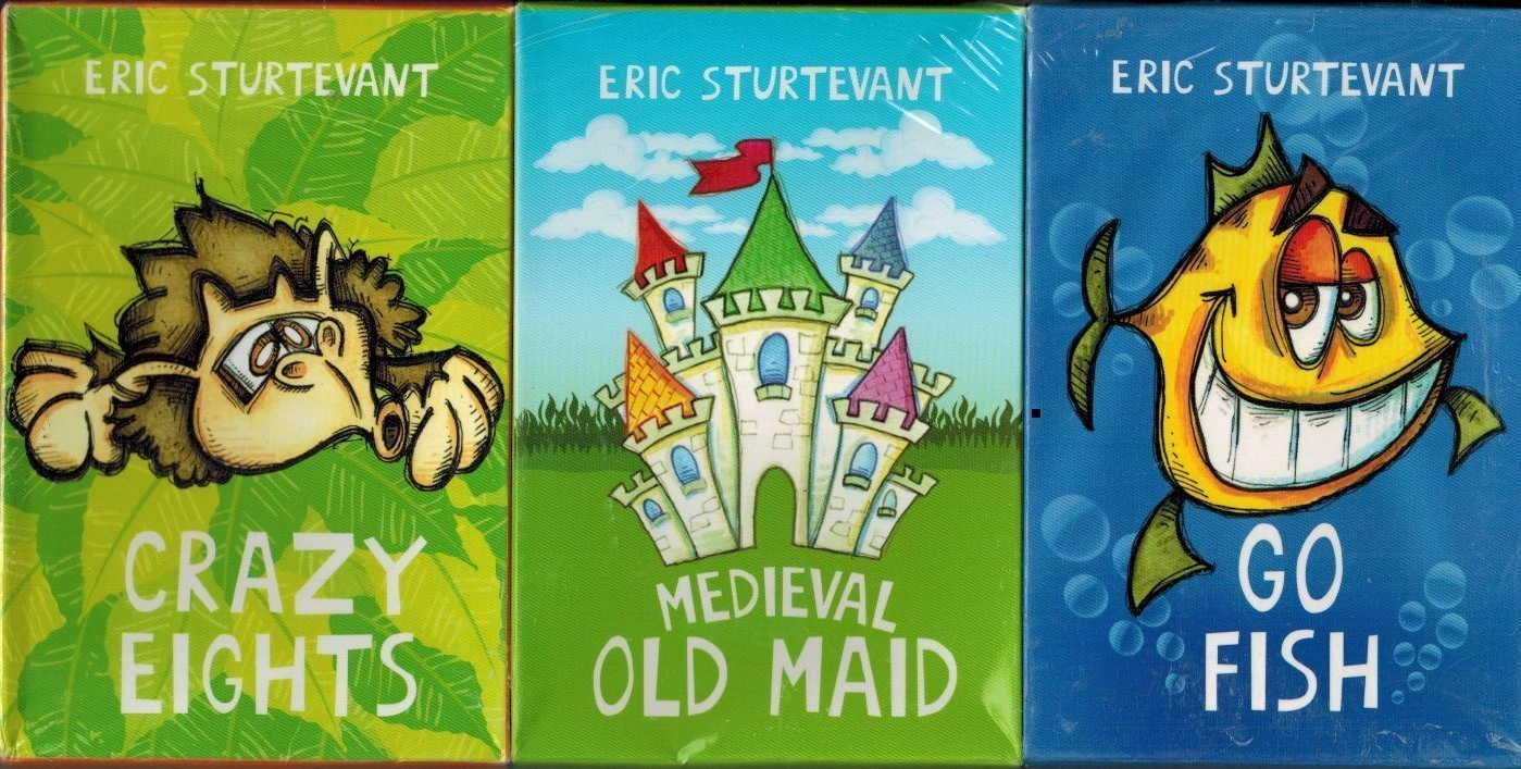 3 pk. JUMBO KIDS PLAYING CARDS AGES 4+ Eric Sturtevant Children's Jumbo Card Game Set - Crazy Eights, Medieval Old Maid, Go Fish