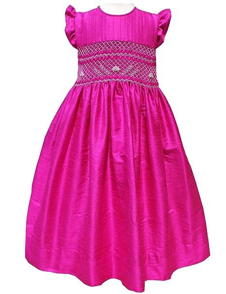 Amazon.com: Flores las niñas seda vestido caliente Color ...