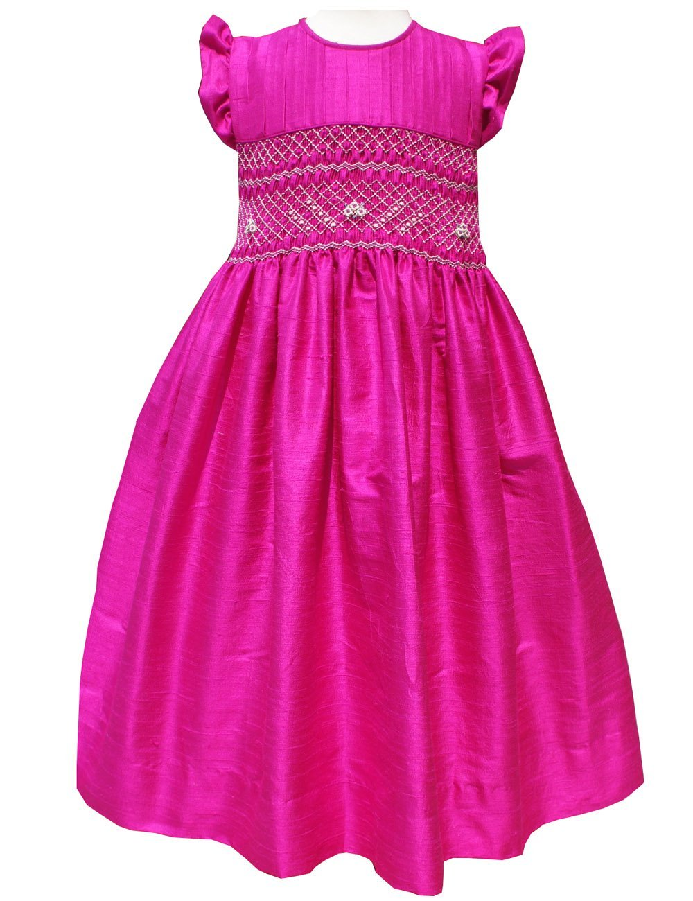Flower Girls Silk Dress Hot Pink Color for Special Occasions Weddings Birthdays