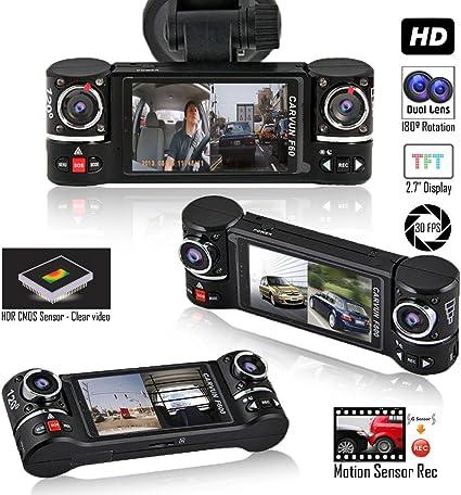Indigi Dash Cam DVR Dual Wide Angle Lens Front + InCar Motion Activation