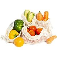 Organic Cotton Mesh Bags (Set of 4) Size 10 X 12 Inches for Grocery and Veggie Shopping Carry and Storage with…