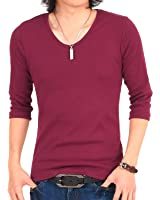 (トップイズム) TopIsm フライス 無地 Vネック ロングTシャツ メンズ 長袖 Tシャツ
