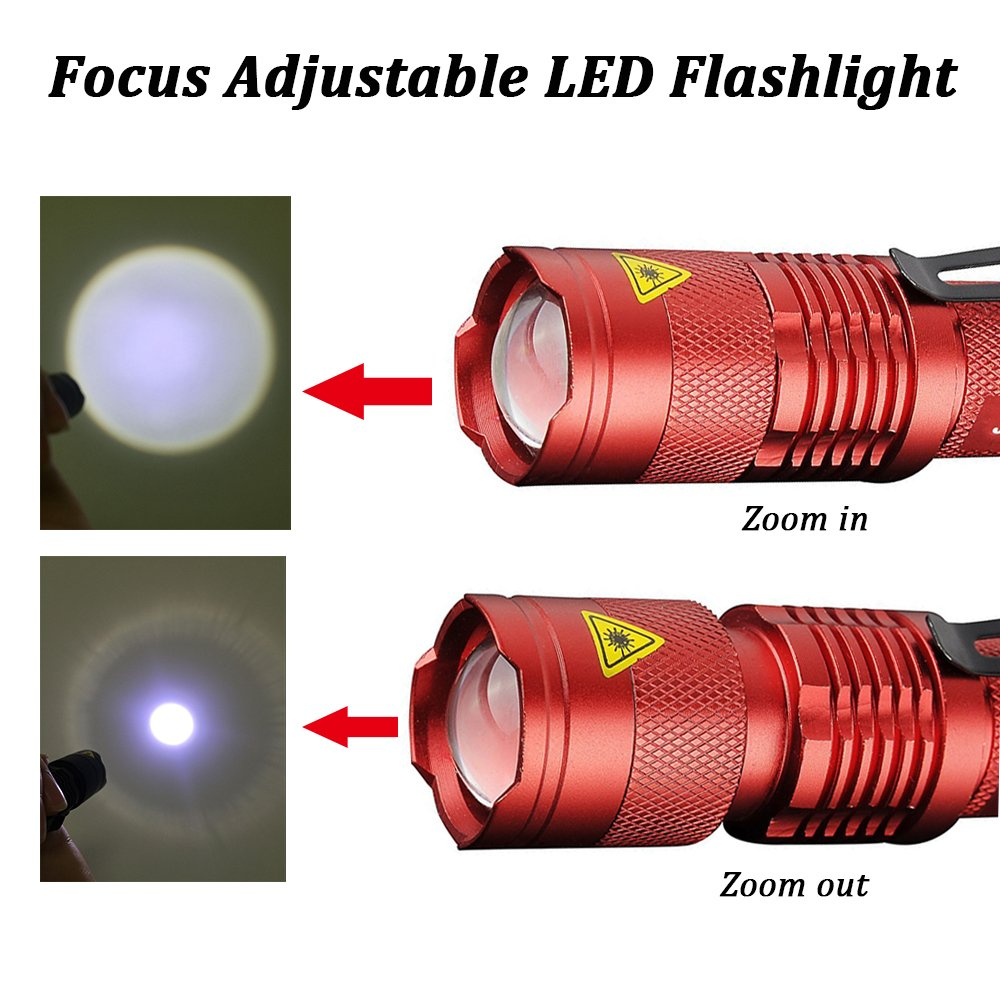 Pack of 5,Pocketman 7W 300LM SK-68 3 Modes Mini Q5 LED Flashlight Torch Tactical Lamp Adjustable Focus Zoomable Light by POCKETMAN (Image #5)